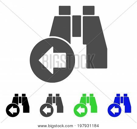 Find Previous Binoculars flat vector pictogram. Colored find previous binoculars, gray, black, blue, green icon variants. Flat icon style for application design.