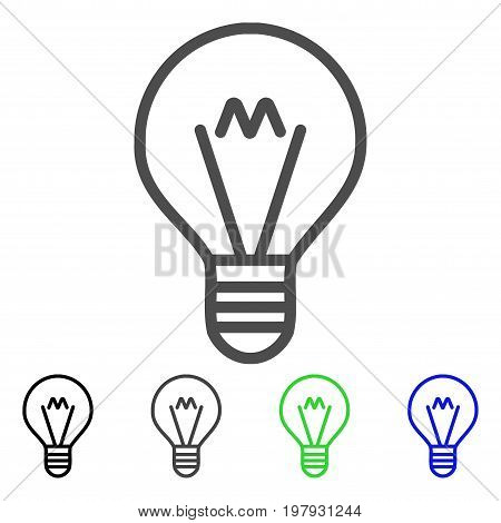Hint Lamp flat vector pictograph. Colored hint lamp, gray, black, blue, green icon variants. Flat icon style for application design.
