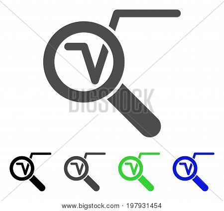Search Math Solution flat vector pictograph. Colored search math solution, gray, black, blue, green pictogram variants. Flat icon style for web design.