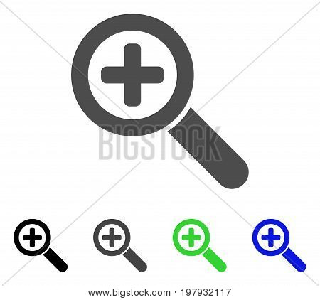 Zoom In flat vector pictogram. Colored zoom in, gray, black, blue, green pictogram versions. Flat icon style for graphic design.