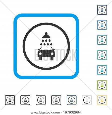 Car Wash icon inside rounded square frame. Vector illustration style is a flat iconic symbol in some color versions.