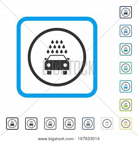 Car Wash icon inside rounded rectangle frame. Vector illustration style is a flat iconic symbol in some color versions.