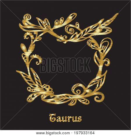Embroidery with zodiac sign. In gold on black background.  Stock line vector illustration.
