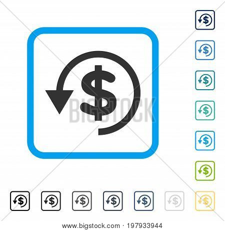 Chargeback icon inside rounded square frame. Vector illustration style is a flat iconic symbol in some color versions.