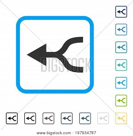Combine Arrow Left icon inside rounded rectangle frame. Vector illustration style is a flat iconic symbol in some color versions.