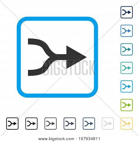 Combine Arrow Right icon inside rounded square frame. Vector illustration style is a flat iconic symbol in some color versions.
