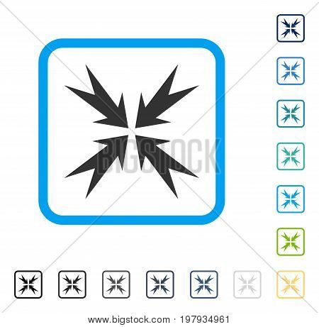 Compression Arrows icon inside rounded square frame. Vector illustration style is a flat iconic symbol in some color versions.
