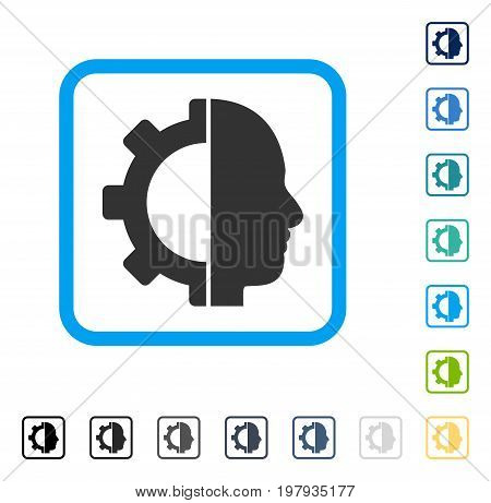 Cyborg Gear icon inside rounded rectangle frame. Vector illustration style is a flat iconic symbol in some color versions.