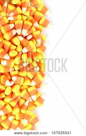Halloween candy corns on the white background