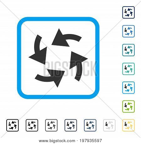 Cyclone Arrows icon inside rounded square frame. Vector illustration style is a flat iconic symbol in some color versions.