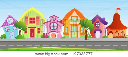 Vector illustration of cartoon houses in bright colors on sky background. Colorful lovely and funny buildings on street with trees and bushes in cartoon flat style.