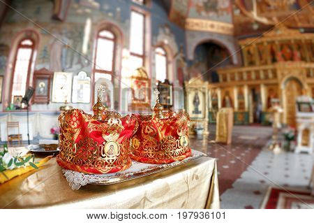 Crown for Wedding in Orthodox church gold. the ceremony in the Church