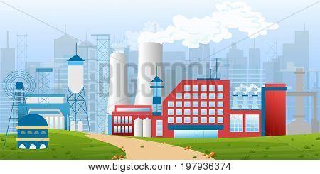 Stock vector illustration of an industrial zone with factories, plants, warehouses, enterprises in the flat style landscape