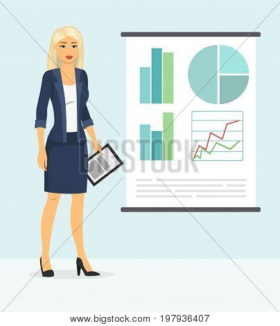 Cute businesswoman showing something. Vector illustration of woman in business style clothes making presentation in flat cartoon style