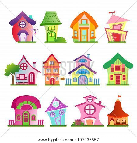 Vector illustration of funny country buildings set. Colorful and bright houses with trees in cartoon flat comic style on white background