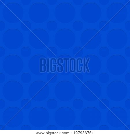 Blue seamless cutout circle pattern texture background - spatial geometrical vector graphic with shadow effect
