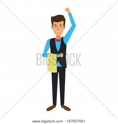 professional waiter male in uniform vector illustration