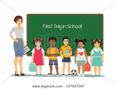 Vector illustration of female teacher with kids of different nationalities at white background with green school board. Children at school in first time in cartoon flat style