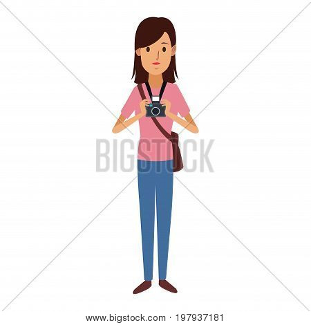 happy girl holding a camera photographic and handbag vector illustration