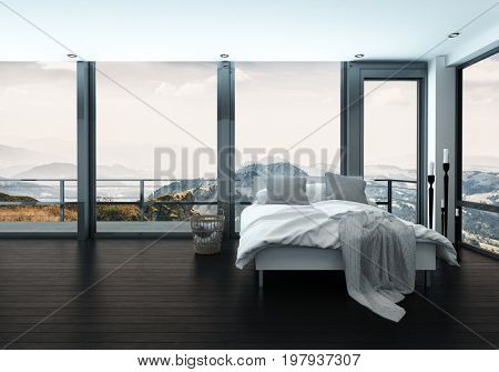 Bed in minimalist interior of modern bedroom with scenic view. 3d Rendering.