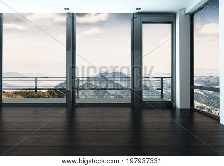Spacious unfurnished room in modern flat with view of mountains. 3d Rendering.