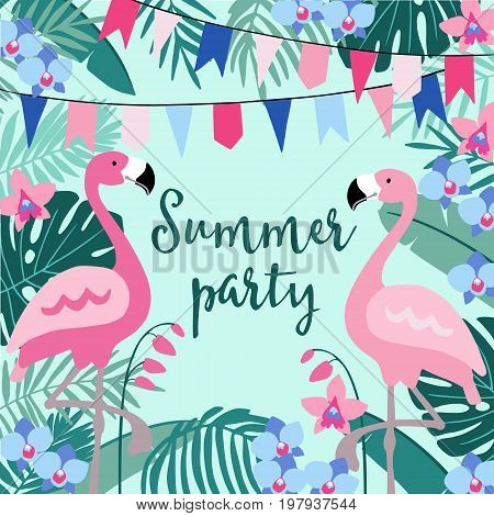 Summer birthday party greeting card, invitation with hand drawn palm leaves, orchid flowers, flamingo birds and party flags. Tropical jungle design, vector illustration background.