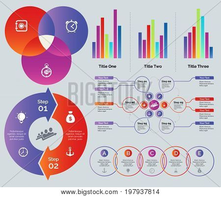 Statistic and process chart design set. Can be used for presentations, annual report, workflow layout. Business concept. Venn chart Bar graphs Process flow chart Cycle donut graph Process venn graph
