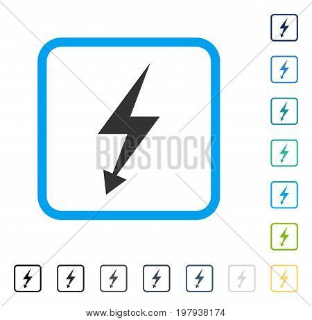 Electric Strike icon inside rounded square frame. Vector illustration style is a flat iconic symbol in some color versions.