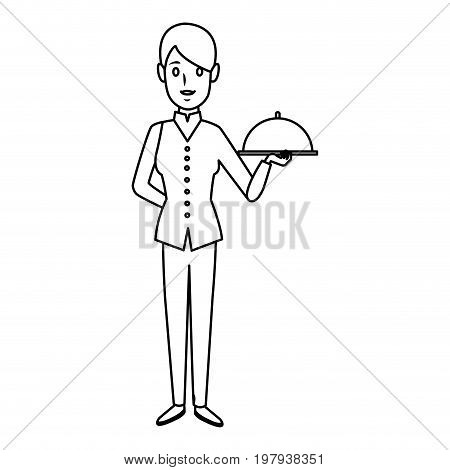 female woman chef character holding a plate or platter cloche vector illustration