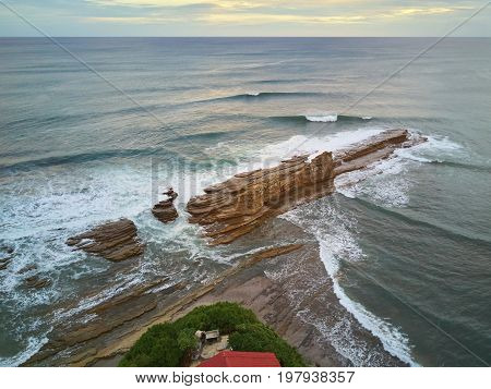 Magnific rock in Nicaragua, place for surfing. Famous place for surf in Nicaragua