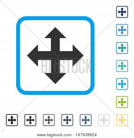 Expand icon inside rounded rectangle frame. Vector illustration style is a flat iconic symbol in some color versions.
