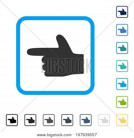 Hand Pointer Left icon inside rounded rectangle frame. Vector illustration style is a flat iconic symbol in some color versions.