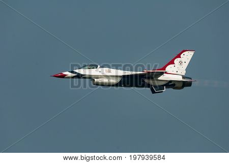 Cape Cod Massachusetts USA - August 24 2007: United States Air Force Thunderbird in level flight at Otis Air Force Base airshow