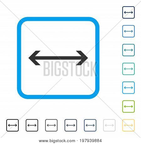 Horizontal Flip icon inside rounded rectangle frame. Vector illustration style is a flat iconic symbol in some color versions.
