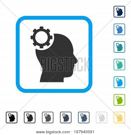 Intellect Gear icon inside rounded rectangle frame. Vector illustration style is a flat iconic symbol in some color versions.