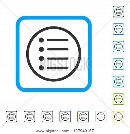 Items icon inside rounded rectangle frame. Vector illustration style is a flat iconic symbol in some color versions.