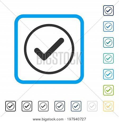 Ok icon inside rounded rectangle frame. Vector illustration style is a flat iconic symbol in some color versions.