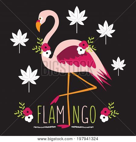 Colorful exotic flamingo with flowers and leaves on black background