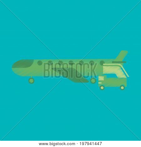 Flat Icon in Shading Style airplane gangway