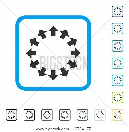 Radial Arrows icon inside rounded square frame. Vector illustration style is a flat iconic symbol in some color versions.