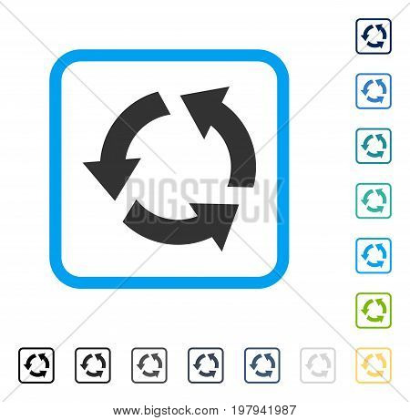 Recycle icon inside rounded square frame. Vector illustration style is a flat iconic symbol in some color versions.