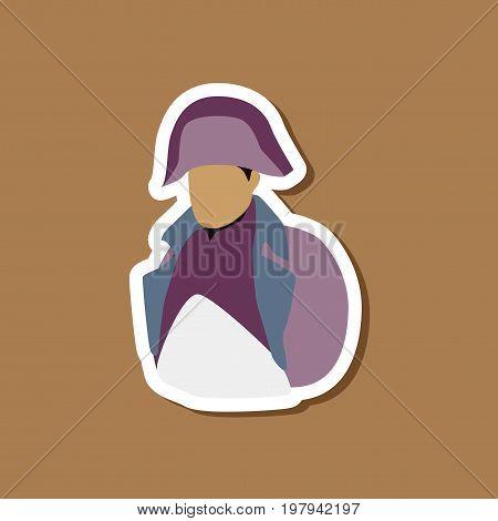 paper sticker on stylish background of Napoleon