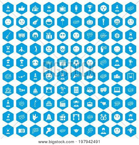 100 emotion icons set in blue hexagon isolated vector illustration