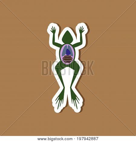 paper sticker on stylish background of frog biology