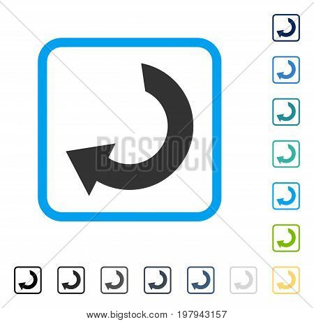 Rotate icon inside rounded rectangle frame. Vector illustration style is a flat iconic symbol in some color versions.