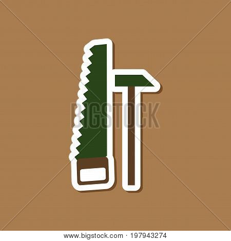 paper sticker on stylish background of saw and a hammer