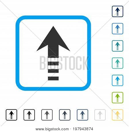 Send Up icon inside rounded square frame. Vector illustration style is a flat iconic symbol in some color versions.