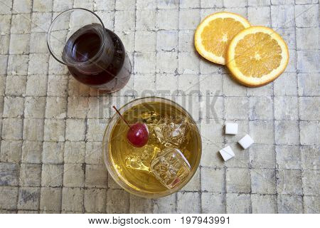 Classic Old Fashion Cocktail On Tile