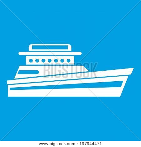 Great powerboat icon white isolated on blue background vector illustration