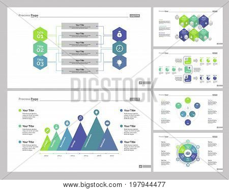 Infographic design set can be used for workflow layout, diagram, annual report, presentation, web design. Business and economics concept with process and doughnut charts.